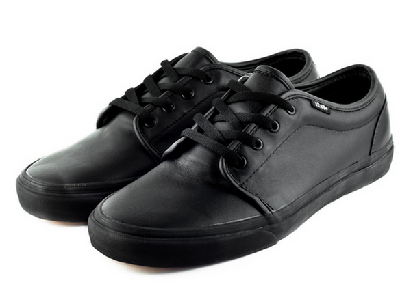 f8f6ad3ef854 Vans 106 Vulcanized Italian Leather Black Black Leather 1 – Famous Rock Shop