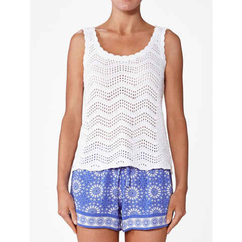 Elwood BOHO Knit Tank Chalk White