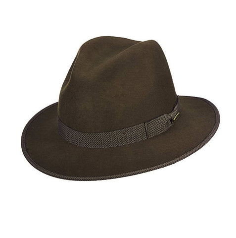 Avenel Crushable Water Repellent Wool Felt Safari Hat Olive DF47