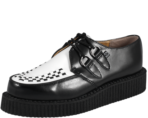 TUK Creeper Black and White Leather Low Sole