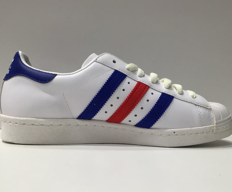 adidas white with blue and red stripes
