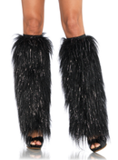 Furry Leg Warmers Black/Silver
