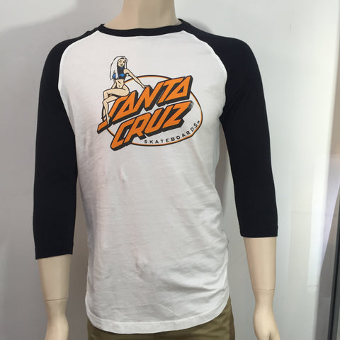 Santa Cruz Slimline Raglan Black White Famous Rock Shop  Newcastle 2300 NSW Australia