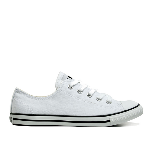 ca5d1ef9b871f6 Converse Dainty White Canvas Ox 530057C 1. Women s Converse White Canvas  with thin black strip on sole. Thinner sole compared to traditional