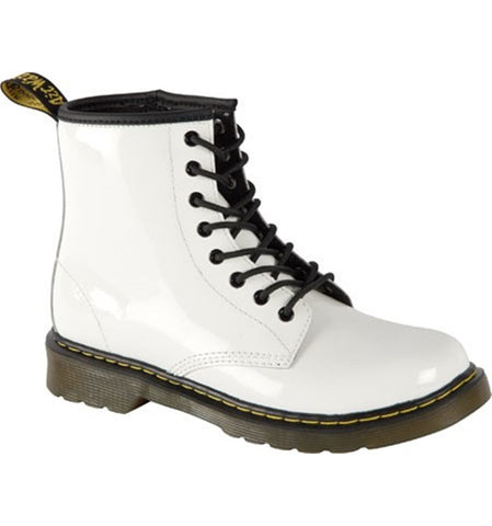 Dr Martens Youth Delaney White Patent Leather Boot Youth 15382101