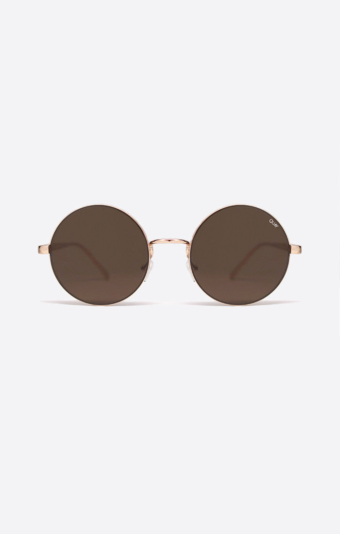 "Quay Australia Electric Dreams Rose Gold/ Brown Lens Metal Frame Polycarbonate Lens Stainless Steel Hinges Cat.3 Lens 100% UV protection Width: 15cm - 5.9"" Height: 5.5cm - 2.17"" Nose Gap: 1.2cm - 0.47"" Hot Property Newcastle 2300 NSW Australia"