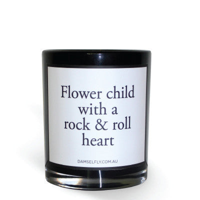 """Flower Child With A Rock & Roll Heart"" Candle"