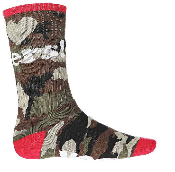 DGK 'Haters' Crew Socks Single Pair - Camo/Wht/Red