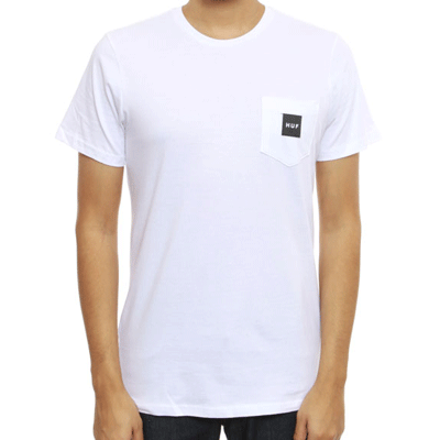 Huf Box Logo Pocket Tee White