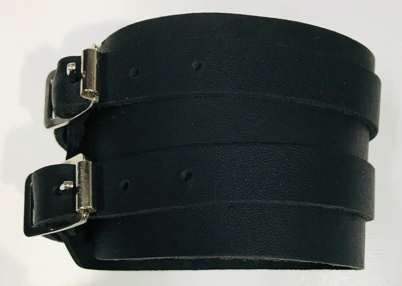 Leather Wristband Double Strap Soft Black Made In Australia