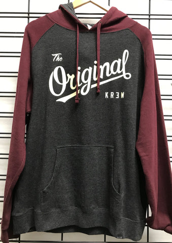 KR3W The Original KR3W RA Men's Grey and Maroon Hoodie