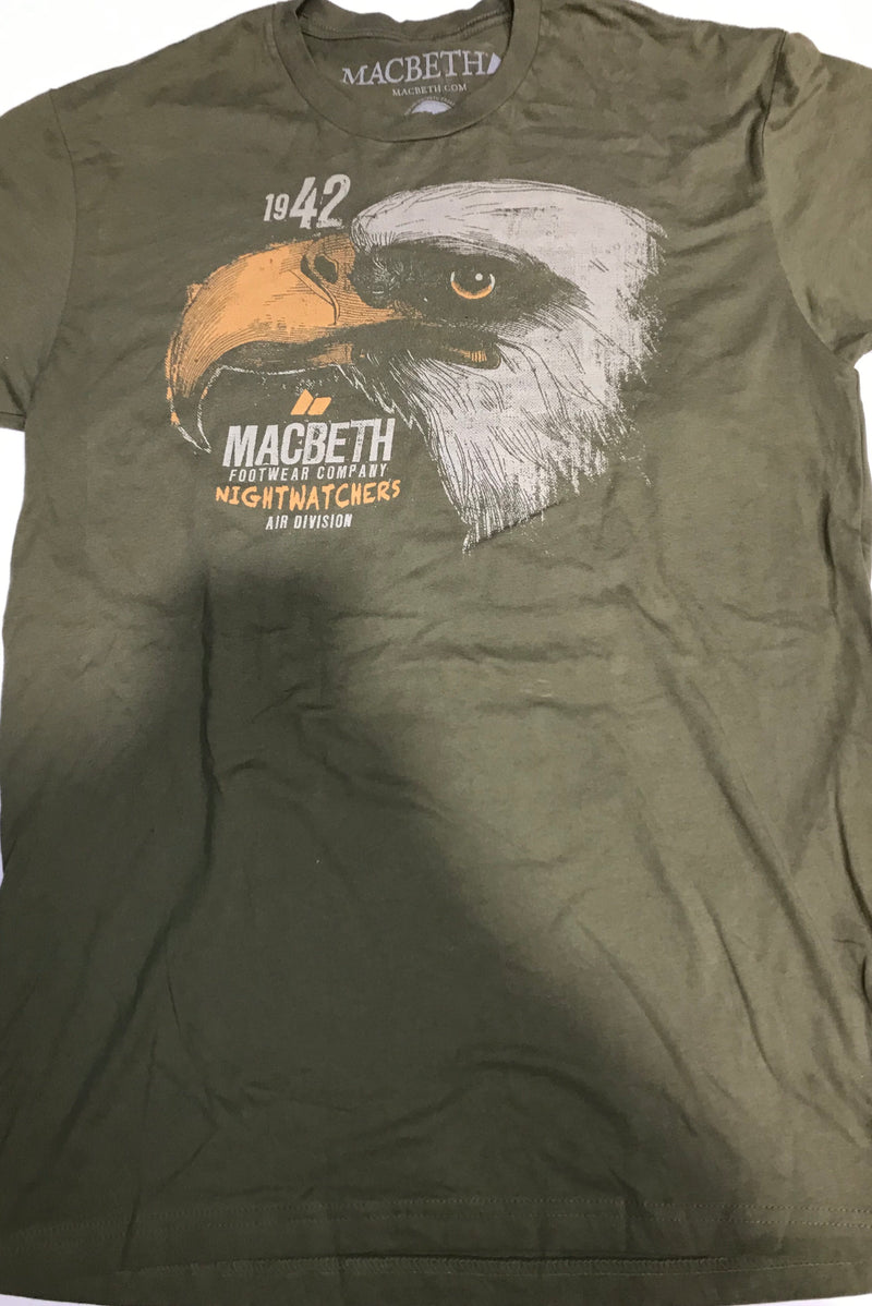 Macbeth Nightwatchers Eagle Green and Orange Men's Tee