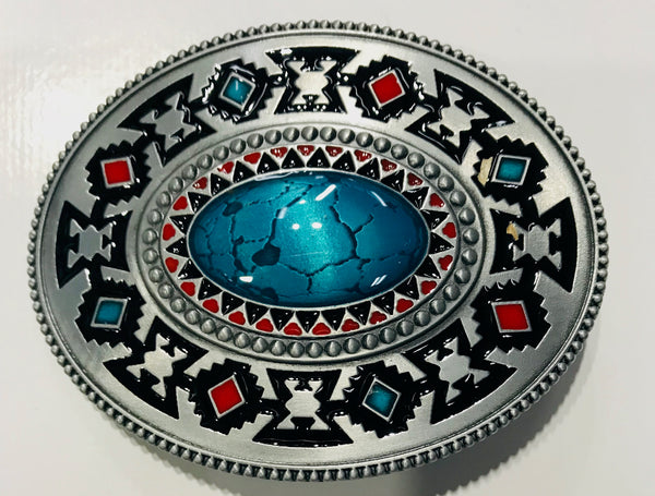 Oval Southwest Design With Stone Belt Buckle