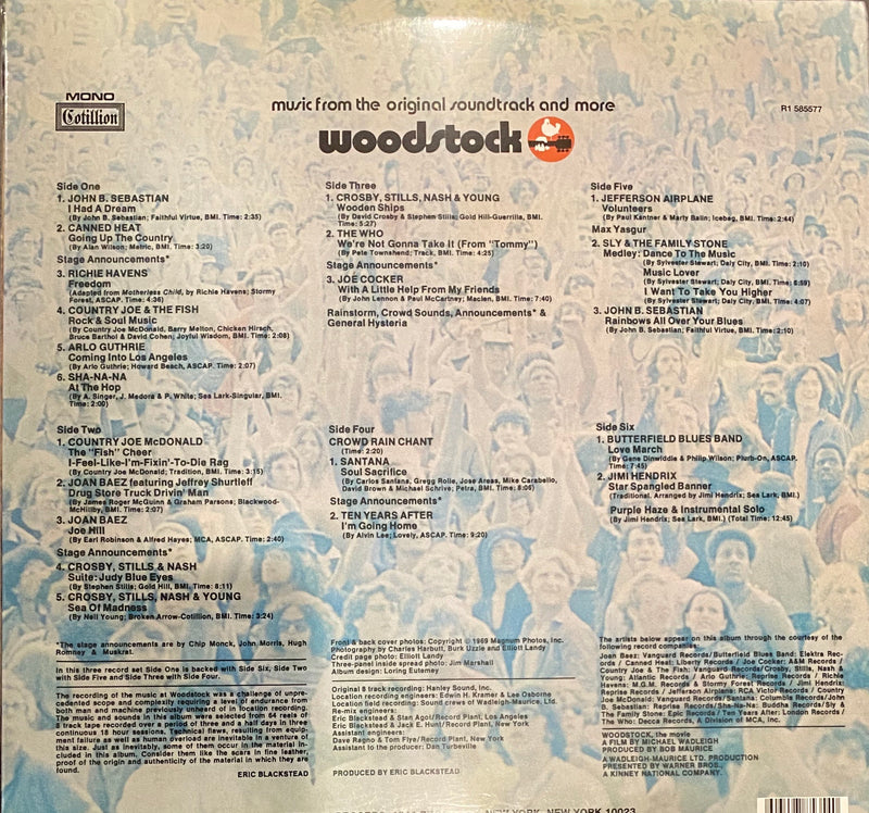 Woodstock Music From The Original Soundtrack And More Vol 1  Vinyl 3LPs Record Store Day