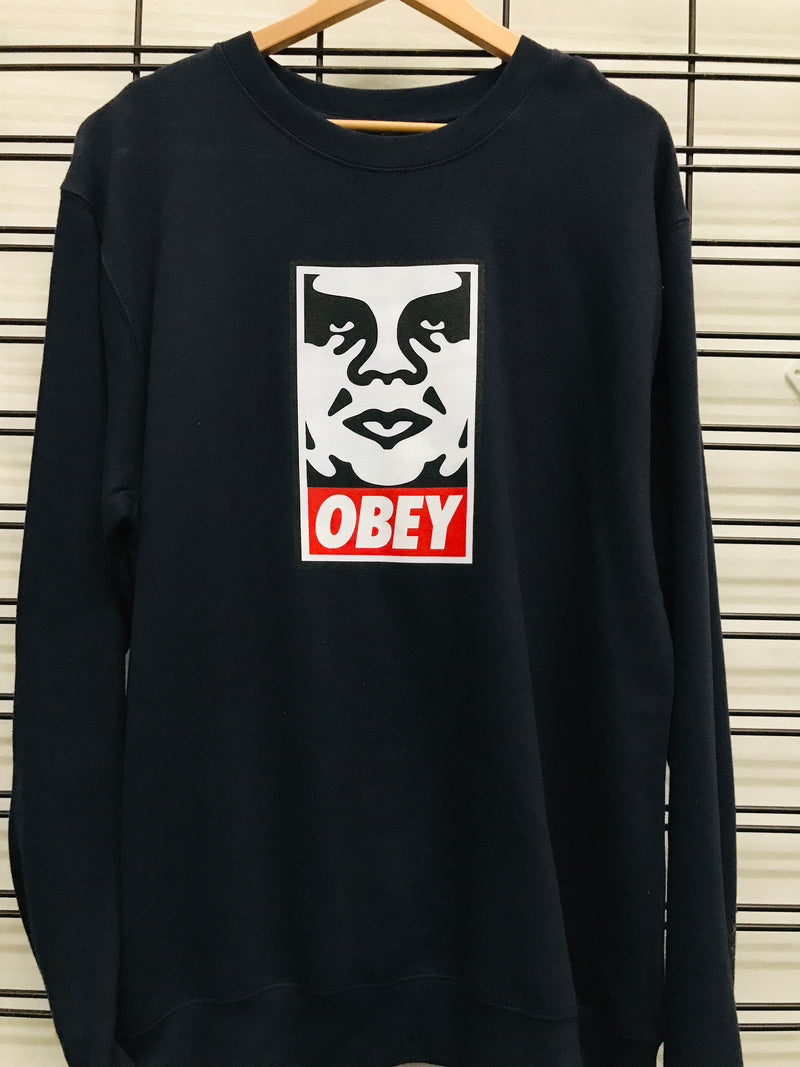 Obey OG Face Crew Men's Dark Denim Jumper