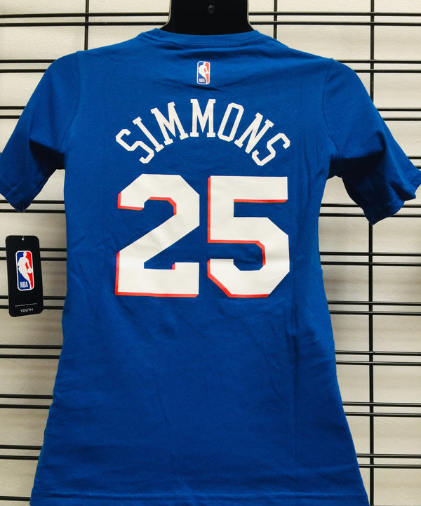 76ERS Ben Simmons 25 Flat Replica Name & Number SS Tee Royal NBA Youth