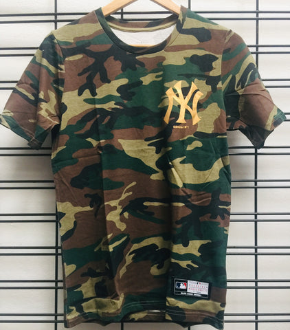 Majestic Athletic MLB NY Yankees Chesney Kids Tee Camo Gold 7K3B7MARV