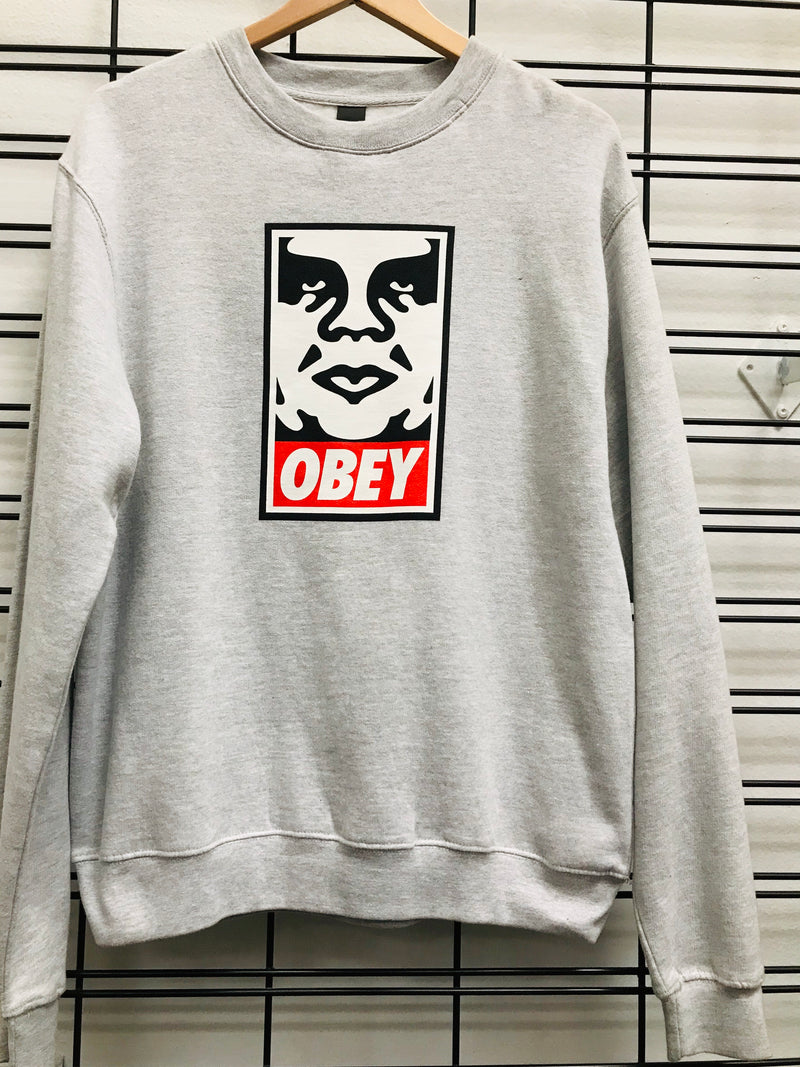 Obey OG Face Crew Men's Heather Grey Jumper