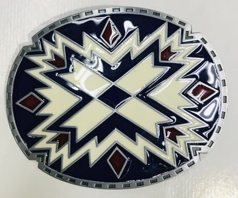 Indian Symbol Belt Buckle Blue and White