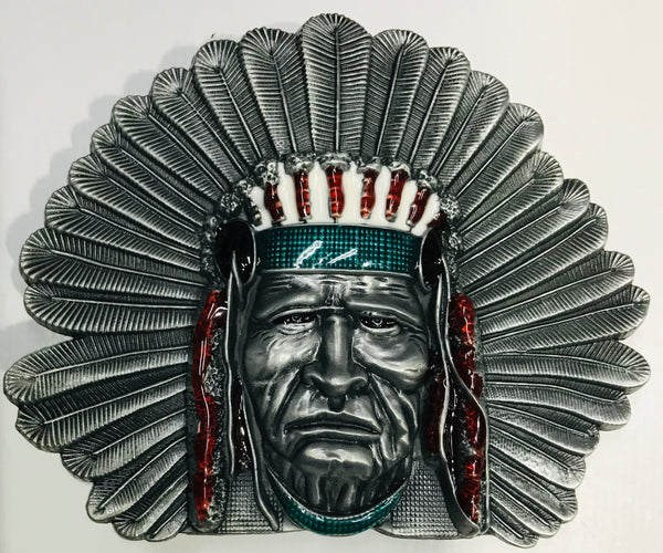 Indian Chief Belt Buckle Silver