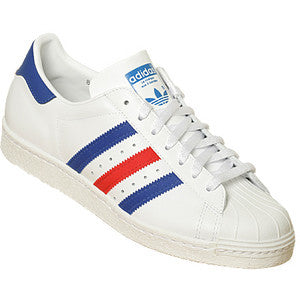 size 40 5ee84 ff905 Adidas Superstar 80 s White with Blue Red Stripe Leather G03174