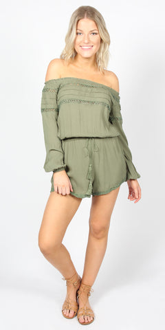 Sass Talisha Shoulder Playsuit Khaki 9950DWSS