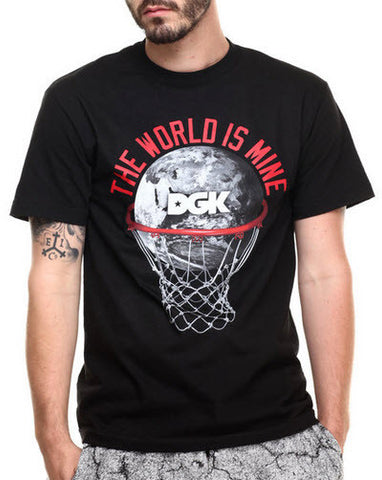 "The Lay Up Tee by DGK features: US sizing Screen print basketball and hoop and globe design with ""THE WORLD IS MINE"" text on chest Crew neck collar Short sleeves Cotton construction Famous Rock Shop Newcastle 2300 NSW Australia"