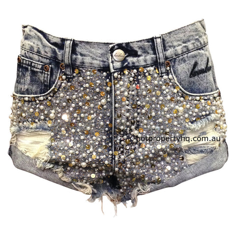 Bam Bam Garage Glitter Denim Shorts