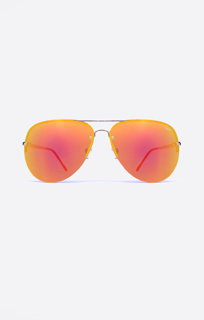 "Quay Australia MUSE Gold Red Mirror Features Gold metal frame with a Blood Orange Mirror Lens x Amanda Steele Nickel Free Metal Frame Polycarbonate Lens Stainless Steel Hinges Cat.3 Lens 100% UV protection Width: 15cm - 5.9"" Height: 5.5cm - 2.17"" Nose Gap: 0.8cm - 0.31 Hot Property Newcastle 2300 NSW Australia"