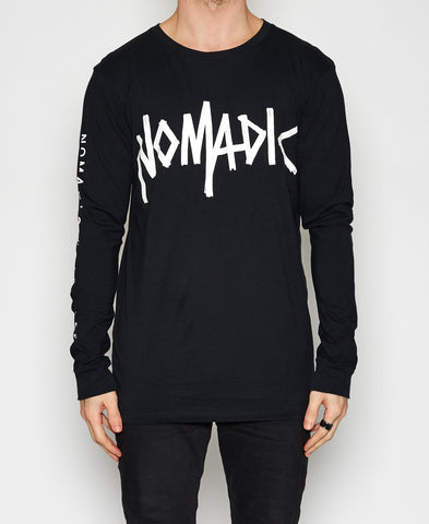 Nomadic Paradise Surf God Long Sleeve Jet Black T-Shirt