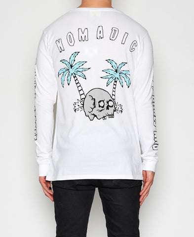 Nomadic Paradise Waves & Bones White Long Sleeve T-Shirt