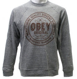Obey Strictly Top Quality Heather Grey Crew Neck