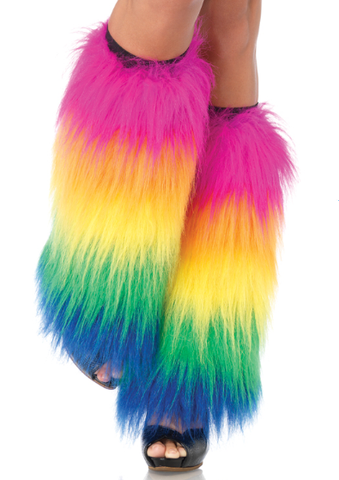 Furry Leg Warmers Rainbow