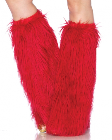 Furry Leg Warmers Red