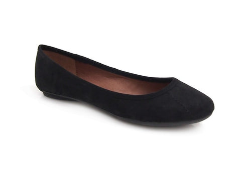 Therapy Aruba Faux Suede Black Slip On Flat