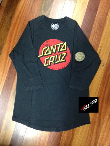 Santa Cruz Raglan Acid Wash Off Black