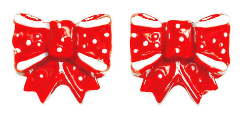 Red Bow Stud Earrings