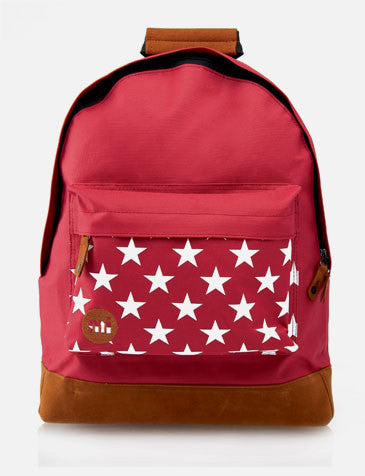 Mi Pac Pocket Print Stars Burgundy Backpack