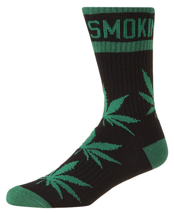 DGK 'Stay Smokin' Crew Socks Single Pair - Black/Green