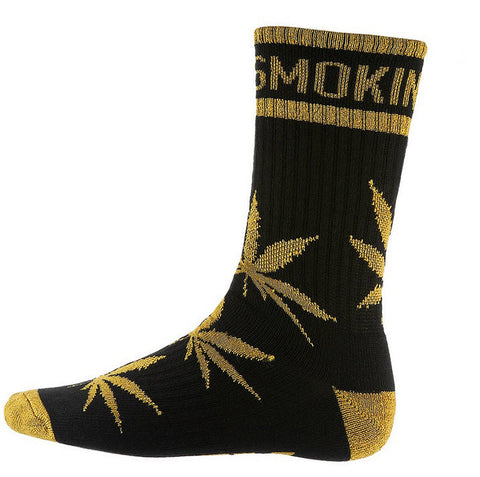 DGK 'Stay Smokin' Crew Socks Single Pair - Black/Metallic Gold