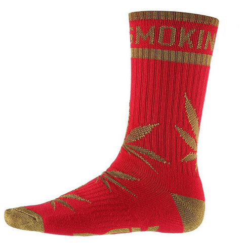 DGK 'Stay Smokin' Crew Socks Single Pair - Red/Gold
