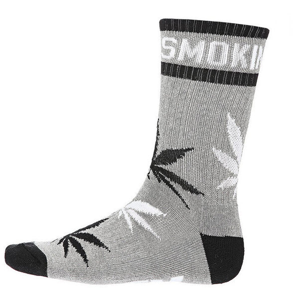 DGK 'Stay Smokin' Crew Socks Single Pair - Athentic Heather/Black/White