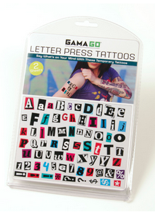 Letter Press Temporary Tattoos