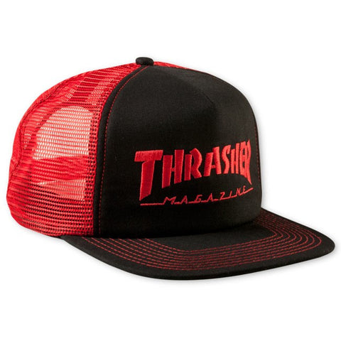 Thrasher Logo Embroided Mesh Cap Red Black Snapback