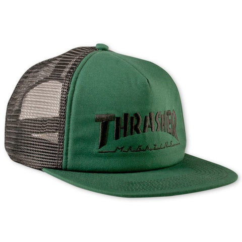 Thrasher Logo Embroided Mesh Cap Green Black Snapback