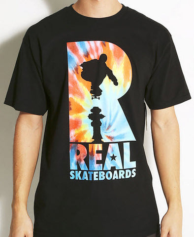 Real Skateboards Tie Dye Black T-Shirt - Famous Rock Shop Newcastle NSW Australia