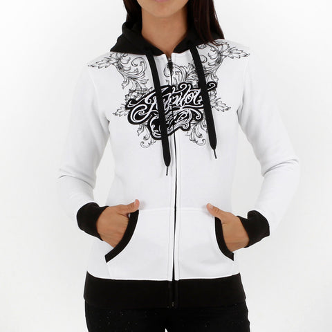 Jetpilot Propaganda Girls Zip Up Hoodie White