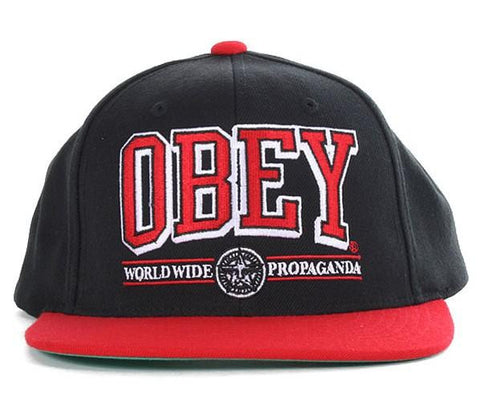 Obey Athletics Snapback Black Red