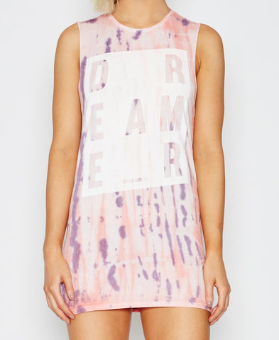 Dream Monstar Dreamer Muscle Tee Dress Rose Tye Dye