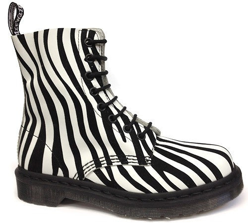 Dr Martens 1460 Pascal Zebra White with Black 8 Hole Boot
